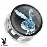 Piercing plug écarteur en acier Playboy avec lapin sur fond spacial