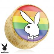 Piercing plug écarteur en bois Playboy avec lapin sur drapeau gay
