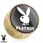 Piercing plug écarteur en bois Playboy avec lapin sur fond noir