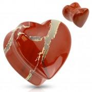 Piercing plug écarteur en Jaspe rouge en forme de coeur