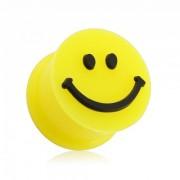 Piercing plug écarteur jaune avec smiley