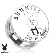"Piercing plug écarteur Playboy en acier avec lapin ""Bunnies Do It Better"""