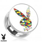 Piercing plug écarteur Playboy en acier avec lapin multicolore en blocs