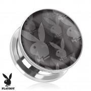 Piercing plug écarteur Playboy en acier avec multiples lapins