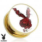 Piercing plug écarteur Playboy en acier doré avec lapin de roses rouges