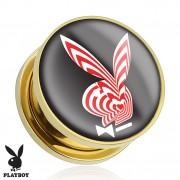 Piercing plug écarteur Playboy en acier doré avec lapin psychédélique