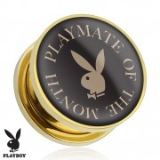 "Piercing plug écarteur Playboy en acier doré ""Playmate of The Month"""