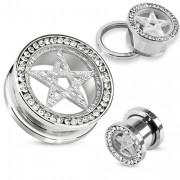 Piercing plug en acier avec bord pavé de pierres claires et étoile