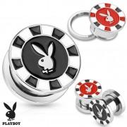 Piercing plug en acier style casino avec lapin Playboy (licence officiel)