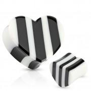 Piercing plug en os et corne taillé en coeur noir et blanc