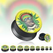 Piercing plug logo Rasta cannabis