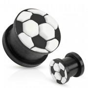 Piercing plug noir avec motif ballon en silicone