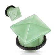 Piercing plug pierre semi-précieuse Aventurine verte en pyramide