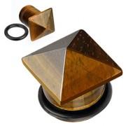 Piercing plug pierre semi-précieuse Oeil de tigre en pyramide