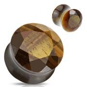 Piercing plug pierre semi-précieuse Oeil de tigre facetté