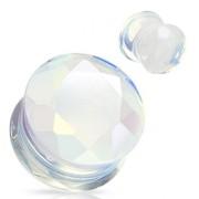 Piercing plug pierre semi-précieuse Opalite facetté