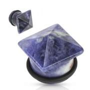 Piercing plug pierre Sodalite en pyramide