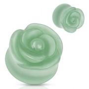 Piercing plug rose scuptée en Aventurine verte