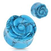 Piercing plug rose scuptée en Turquoise