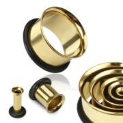 Piercing plug tunnel doré avec anneau de maintien