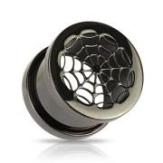 Piercing plug toile d'araignée ionisé titanium noir