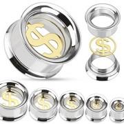 Piercing plug tunnel avec insert Dollar doré