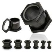 Piercing plug tunnel boulon ionisé titanium noir