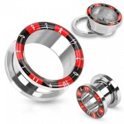 Piercing plug tunnel en acier avec bord style roulette de casino