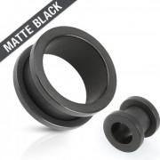 Piercing plug tunnel en acier noir mat