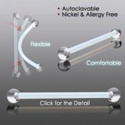Piercing retainer multi-usages à tige bioflex et boules acrylique