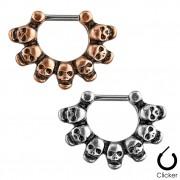 Piercing septum à clip avec 7 têtes de morts reliées