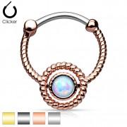 Piercing septum style cordage avec opale synthétique