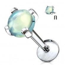 Piercing serti Jade verte (lèvre, cartilage...)