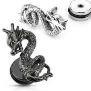 Piercing style faux plug à dragon en relief