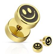 Piercing style faux plug doré et noir avec smiley