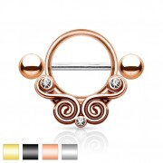 Piercing téton à spirales vintages serties