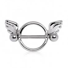 Piercing téton cercle avec ailes d'ange