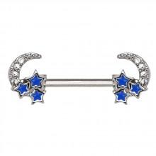 Piercing téton à étoiles bleues emaillées et lunes serties