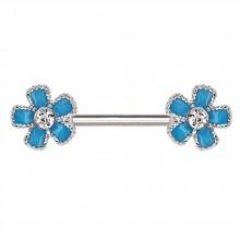 Piercing téton fleurs emaillées bleues serties