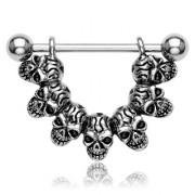 """Piercing téton """"Lucky 7"""" Skull Link"""