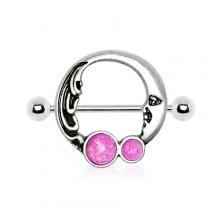 Piercing téton lune vintage avec Opales
